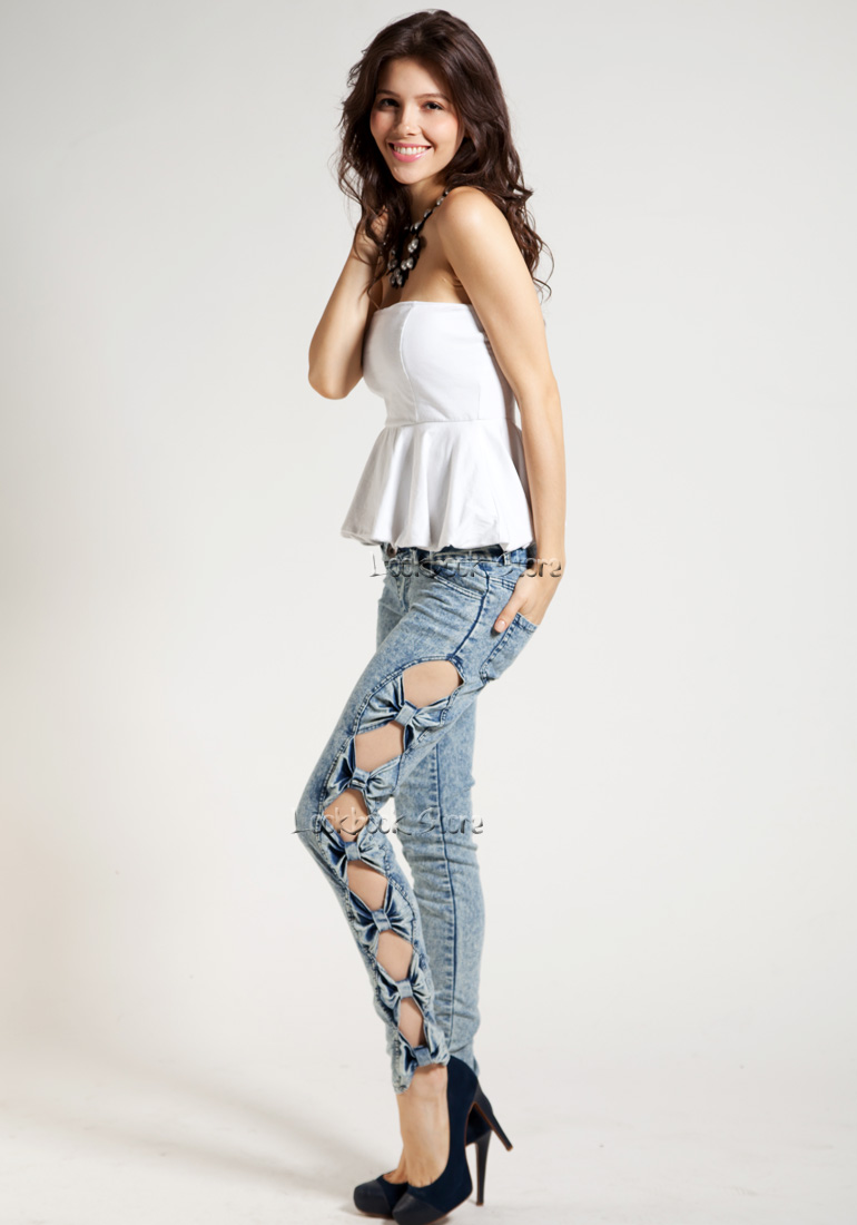 Vintage Detailed Woman Side Bow Cutout Ripped Denim Sexy Jeans Jeggings Trousers | eBay