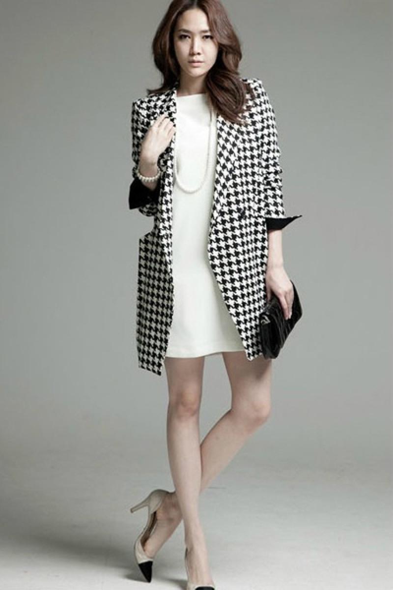Classic Houndstooth Woolen Overcoat,Cheap in Wendybox.com