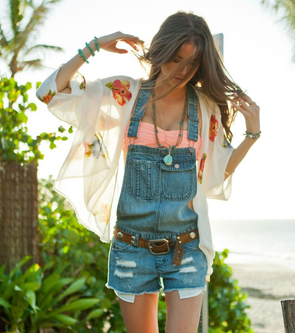denim beach summer out kimono wrap overalls short overalls summer outfits pockets jeans floral kimono flowers sheer white top shorts