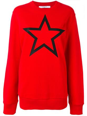 sweatshirt women cotton print red sweater