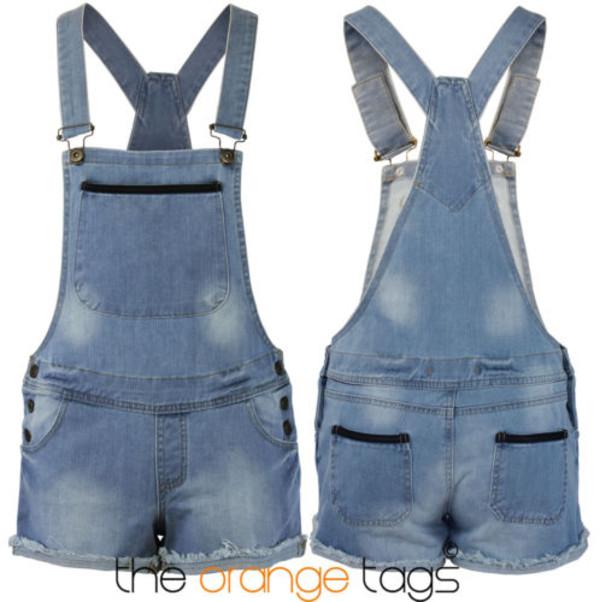 jeans denim shorts hot pants summer trendy girl dungarees denim pinafore