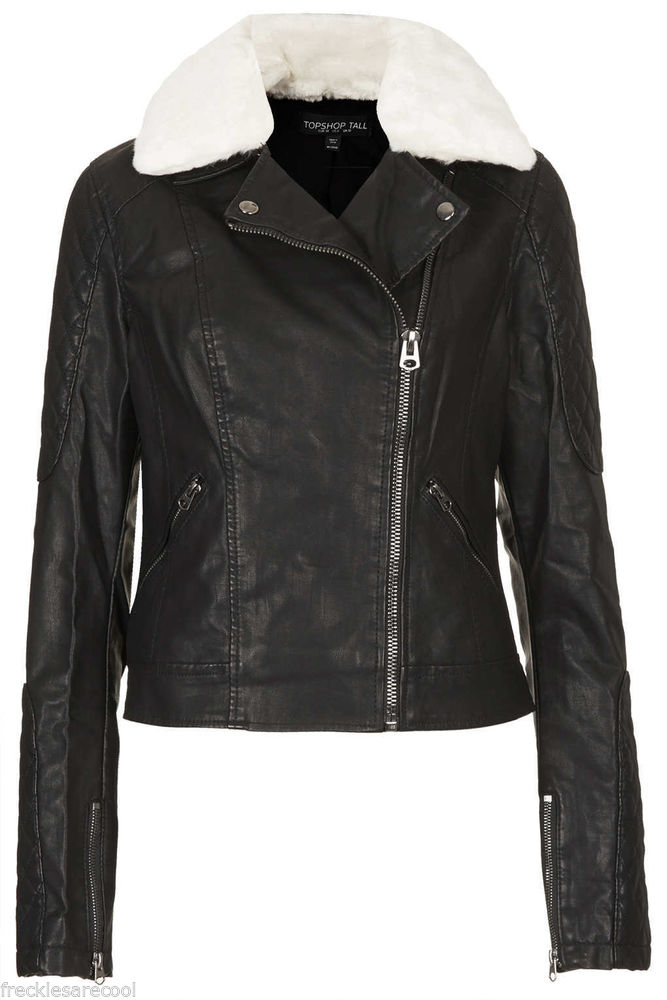 TOPSHOP Jenson Black Faux Leather Fur Collar Biker Moto Jacket 6 UK 10 S | eBay