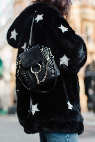 jacket tumblr fur coat black coat printed coat printed fur coat stars backpack black backpack