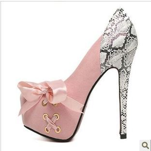 New arrival 2013 bow high heeled shoes thin heels serpentine pattern women's shoes fashion shallow mouth single shoes fashion-inPumps from Shoes on Aliexpress.com