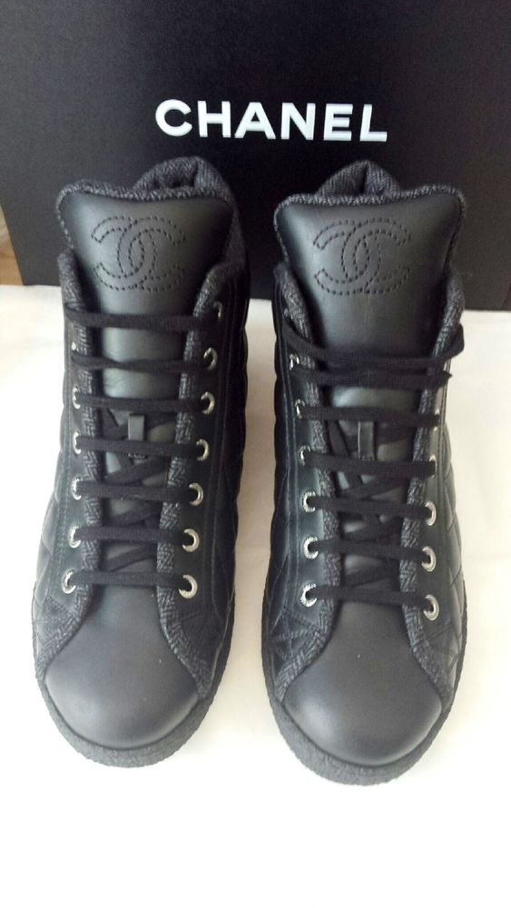 2014 Auth Chanel Black Quilted Leather High Top Tennis Shoe Sneakers Sz 39 | eBay
