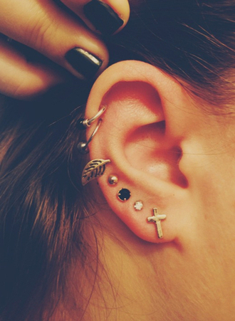 jewels love hipster hippie piercing ear piercings diamonds earrings cross earring boho boho jewelry cross jewelry black grunge jewelry tumblr