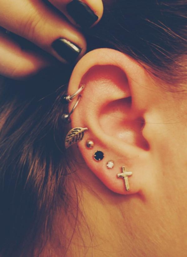 jewels love hipster hippie piercing ear piercings piercing diamonds earrings cross earring boho boho jewelry cross jewelry black grunge jewelry tumblr