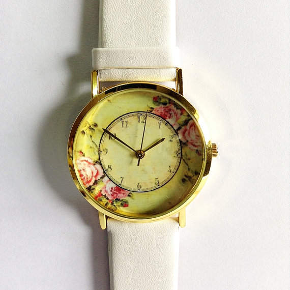 Floral Watch Vintage Style Leather Watch Women by FreeForme