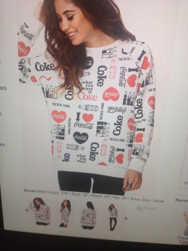 sweater white coca cola red black logo