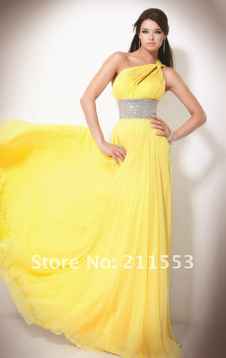 Fashion Chiffon One Shoulder Pleated Sequin A line Yellow Long Prom Dresses-in Prom Dresses from Apparel & Accessories on Aliexpress.com