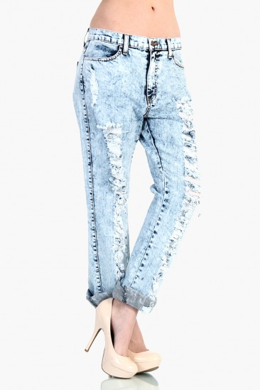 LoveMelrose.com From Harry & Molly | Distressed Boyfriend Jean Pants - Light Acid Wash