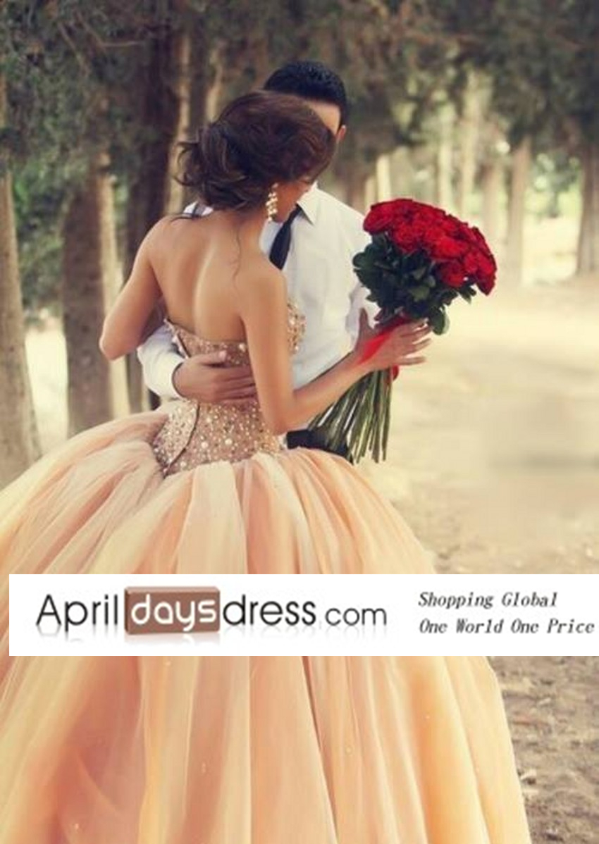 Custom Made Sparkle Fully Rhinestone Bodice Peach Puffy Tulle Prom Dress Debutante Balls Gowns Engagement Dress 2014-in Prom Dresses from Apparel & Accessories on Aliexpress.com