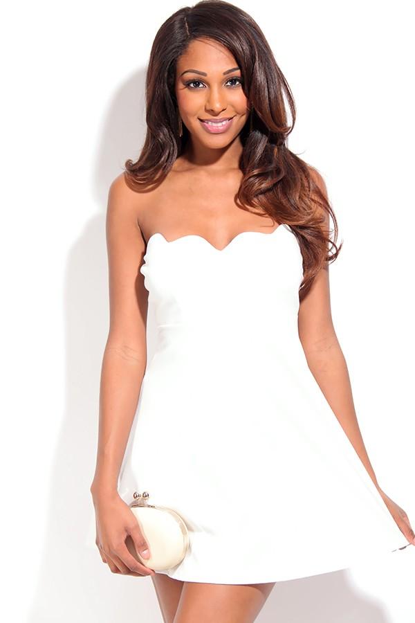 White Strapless Dress - White Strapless Skater Dress with | UsTrendy