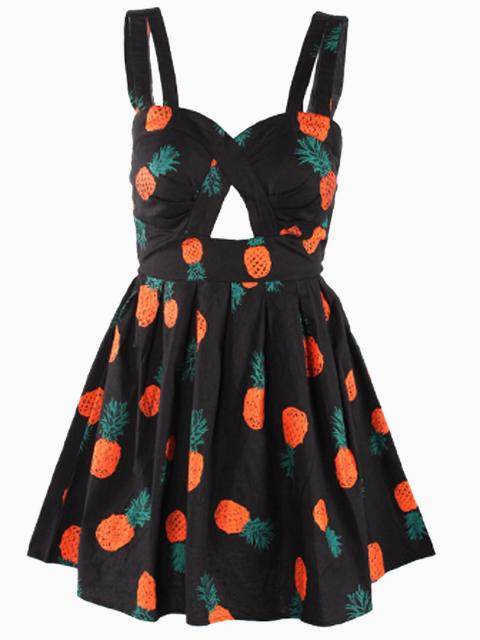 Pineapple Print Beach Skater Dress in Black with Bow Tied Back | Choies