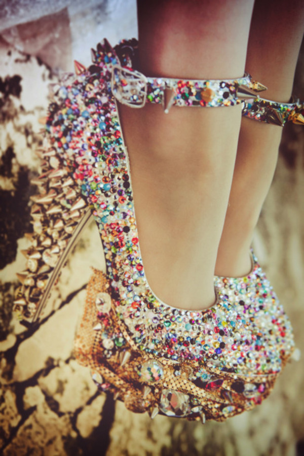t-shirt shoes heels high sparkle studs colorful diamonds high heels jewels spikes diamonds fashion platform shoes platform high heels gems sparkle ankle strap amazing amazing platform shoes sharp multicolor embellished sparkle multicolor multi coloured diamanté with spikess