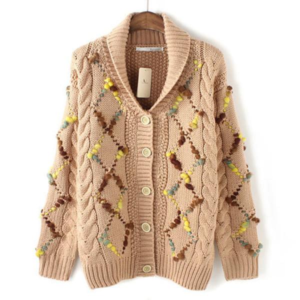 coat cardigan knit mixed color warm