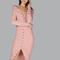Snap button down ribbed dress pink -shein(sheinside)