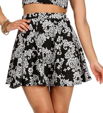 BlackWhite Floral Jacquard Skater Skirt