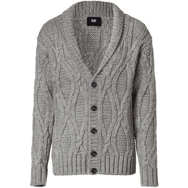 D&G DOLCE & GABBANA Grey MéLange Wool Cardigan With Shawl Co... - Polyvore