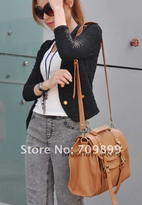 Fashion Britpop Women's PU Leather Purse Handbag Messenger Satchel Shoulder Bag Retro briefcase shopping bag for Ladies B064-in Briefcases from Luggage & Bags on Aliexpress.com