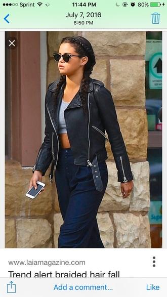 jacket selena gomez leather casual crop tops
