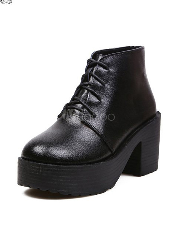 Black Lace Up Cowhide Chunky Ankle Boots for Woman  - Milanoo.com