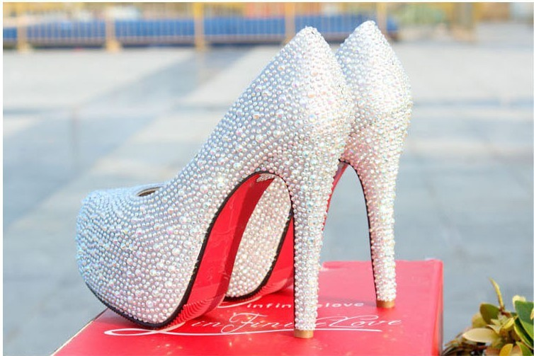New Fashion 2013 Women's Silver Rhinestone Prom Pumps High Heel Crystal Brand Glitter Sparkly Platforms Silver Red Bottom 14cm-in Pumps from Shoes on Aliexpress.com