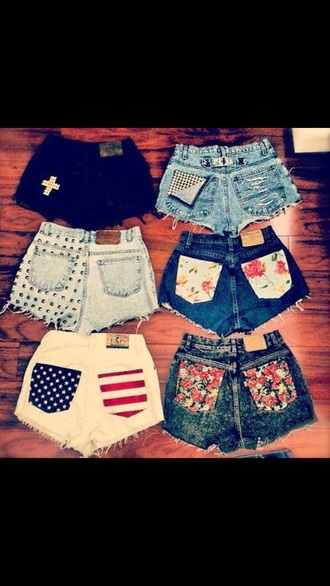 shorts 6 pairs special print pocke print rivets summer shorts a little ripped