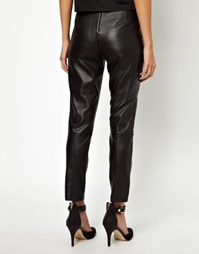 ASOS Petite   ASOS PETITE Leather Trouser with High Waist in Super Soft Leather at ASOS