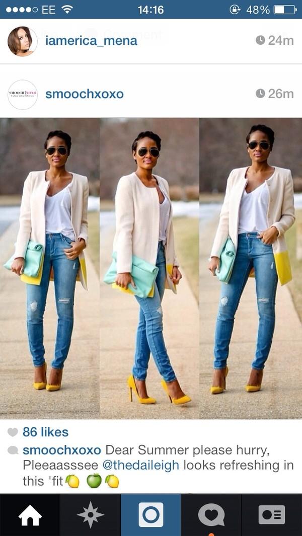 coat jeans shoes bag beige cream town