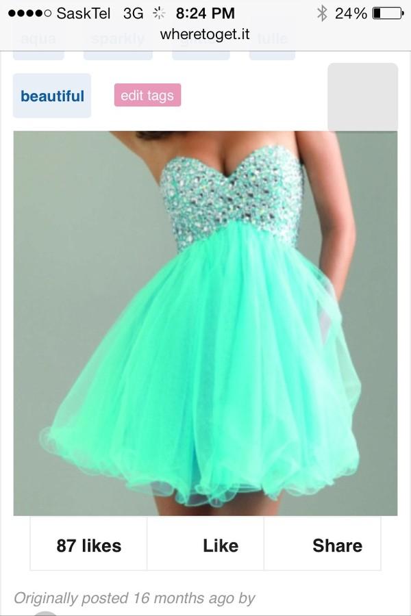 dress mint short chiffon gems jewels mint dress torquise formal event outfit homecoming dress party dress sweetheart dress