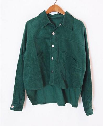 High Low Hem Corduroy Blouse - Blouses - Clothing