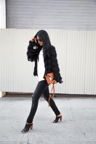walk in wonderland blogger shirt black jacket black ripped jeans peep toe heels jacket jeans bag sunglasses shoes
