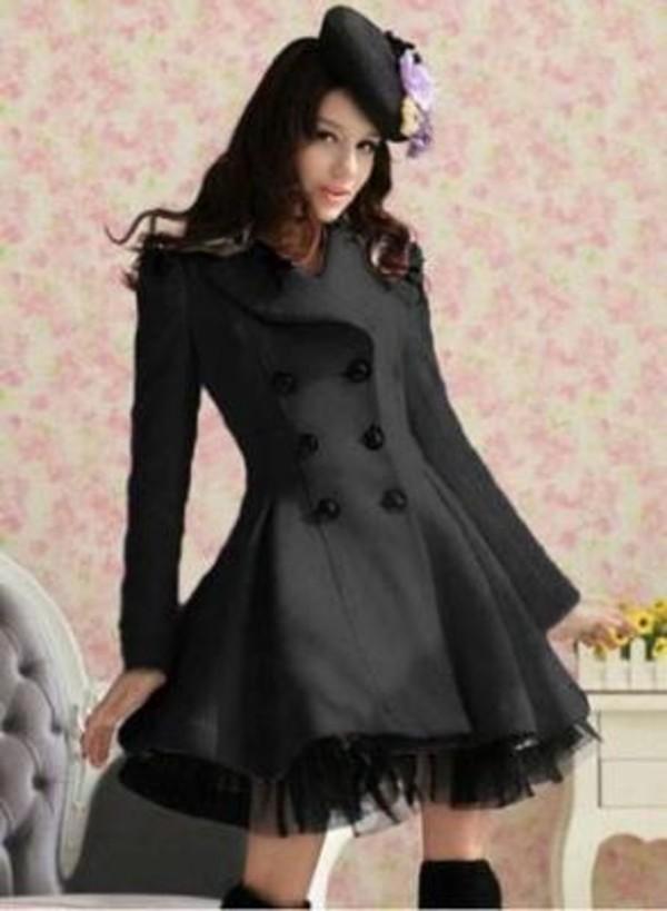 coat black black coat winter coat black winter coat