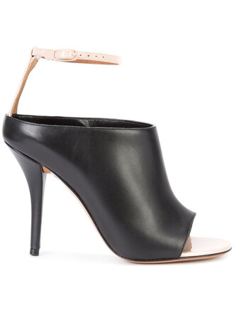 ankle strap women mules leather black shoes