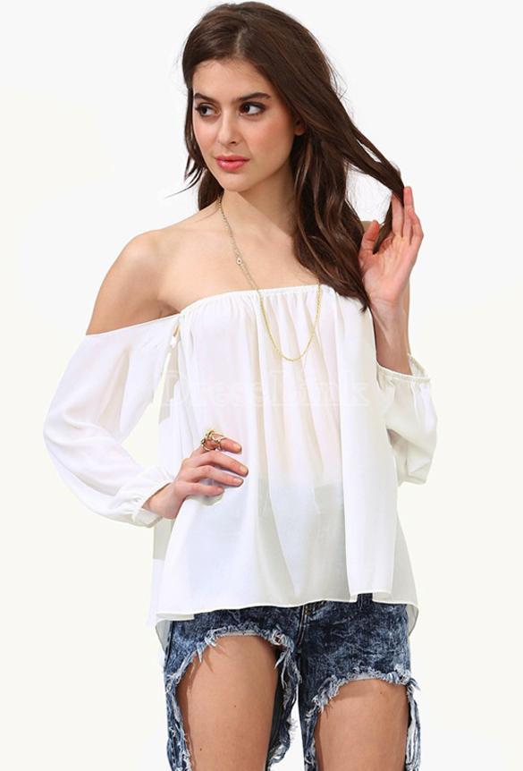 Women Chiffon Off Shoulder Long Sleeve Loose T-shirt Tops