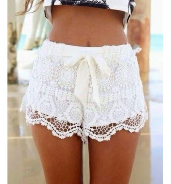 white shorts shorts lace shorts lace white