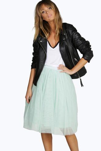skirt tulle skirt mint skirt boohoo skirt mint tulle skirt knee length skirt