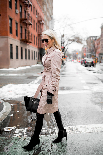 krystal schlegel blogger make-up coat top jeans shoes sunglasses trench coat winter outfits handbag ankle boots gloves