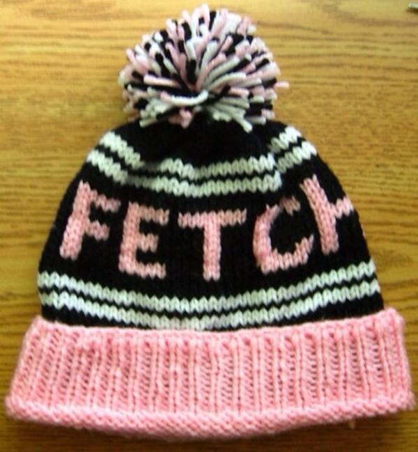 hat pink beanie fetch black