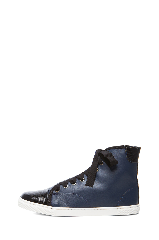 Lanvin|Sheepskin Leather High Top Sneaker in Bleu Marine