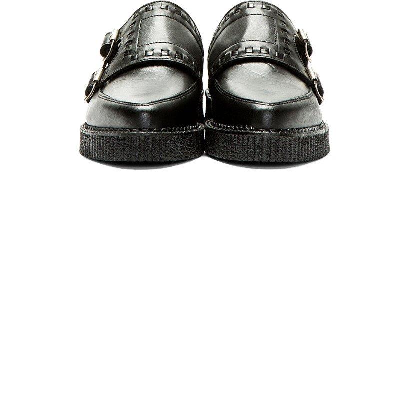 Underground - Black Leather Monk Strap Creepers | SSENSE