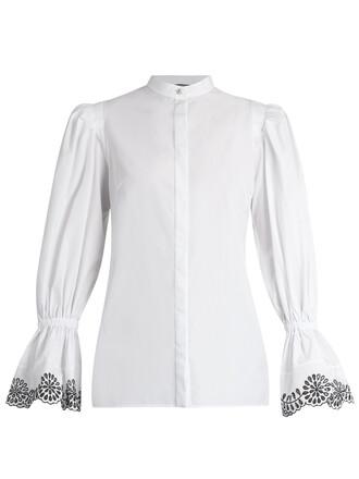 blouse cotton white black top