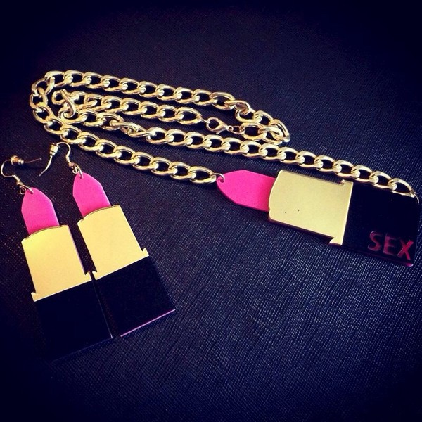 jewels gold lipstick necklace bling