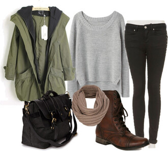 sweater clothes jacket shoes bag scarf jeans brown leather boots belt coat green forest hip hipster fall outfits grey knitwear casual hot fluffy black