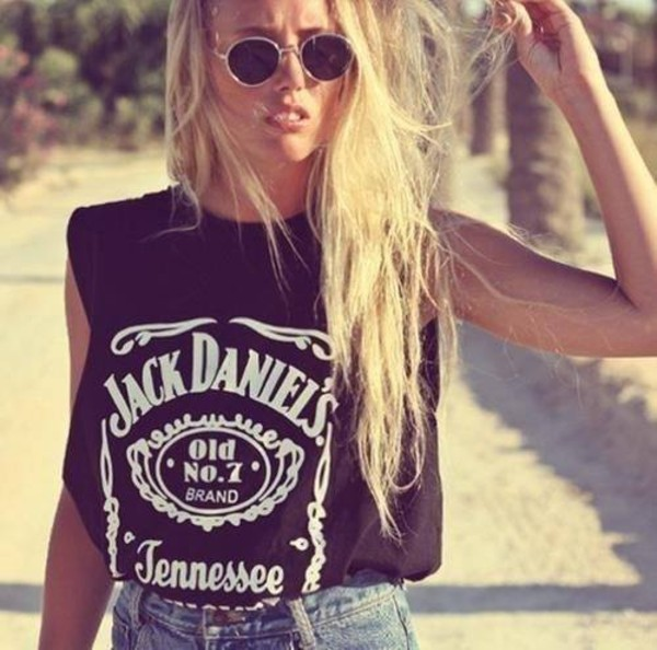 t-shirt tank top jack daniel's fashion top black t-shirt tennessee sunglasses shirt jack daniels shirt