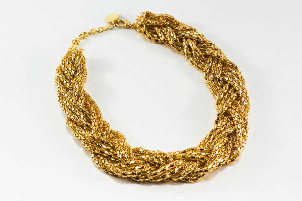 Braided Gold Necklace | Affordable Junior Clothing & Plus Sized Dresses | Shimmer