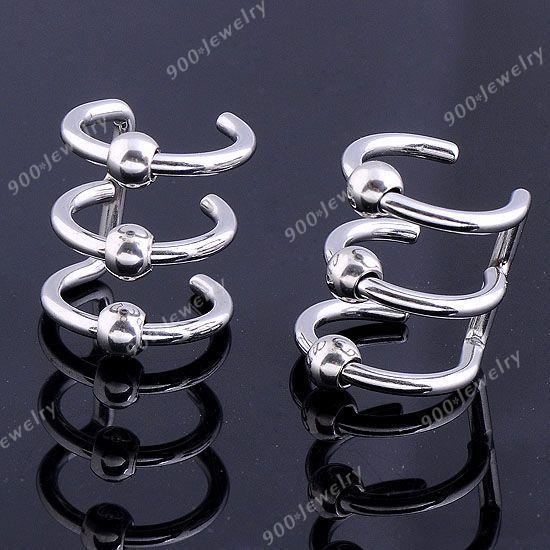 2P Silvery Stainless Steel 3 Band Ring Ear Cuff Earcuff Earring Wrap Punk Goth | eBay