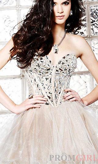 Strapless Party Dress, Sherri Hill Beaded Prom Dresses- PromGirl