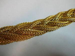 "Gold Plated Chunky 4 Strand Braided Bracelet Beautiful 5 8"" Wide 7 1 2"" Long | eBay"